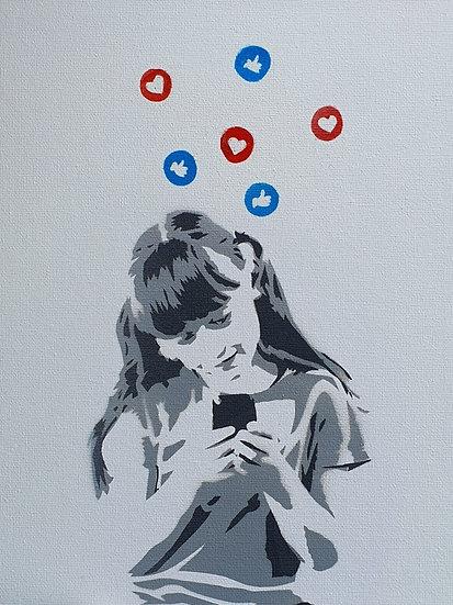 'Young Love 2020' 25x20cm Spray paint on canvas street art.