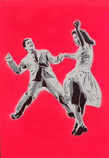 'Jive - Hot Pink'  A3 Canvas 42x30cm