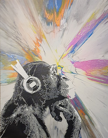 'Disco Chimp - BubbleSpun' 80x60cm Canvas