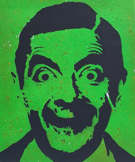 Rowan Atkinson Mr Bean 'Beaned!' 25x20cm Spray paint on canvas street art