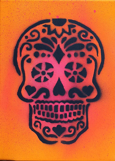 'Dias de la Muertos' Day of the Dead Sugarskull 25x20cm Spray paint on canvas