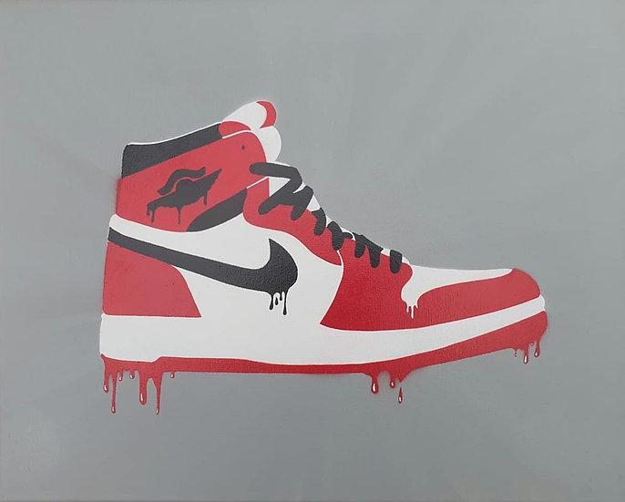'OG1' Nike Air Jordans original spray art on 50x40cm canvas