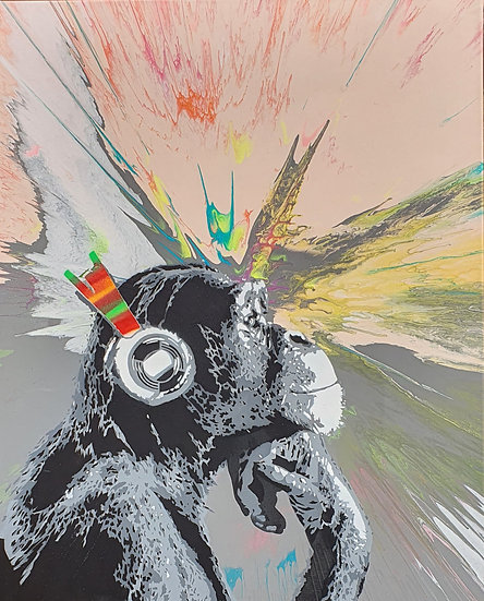 'Disco Chimp - Neon' 80x60cm Canvas