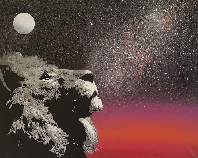 'King - Dusk' Large 80x60cm Original Stencil Art on Canvas