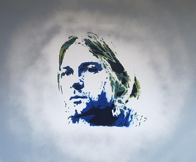 Kurt Cobain spray paint on 50x40cm canvas portrait. Prince of the Grunge scene!