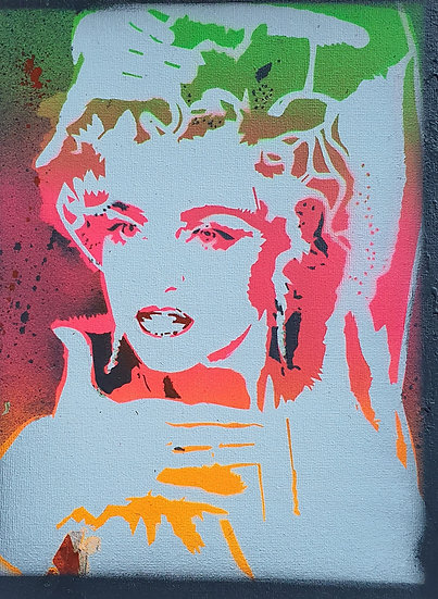 80's Neon Madonna 25x20cm Spray paint om canvas street art