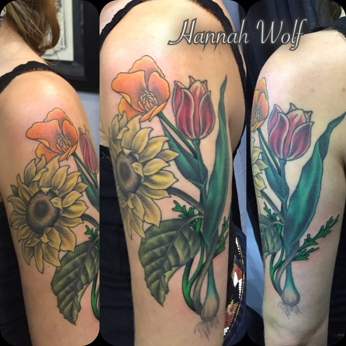 sunflowercaliforniapoppytuliptattoo