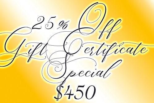 25% off 2 hours of tattooing (normally $600)