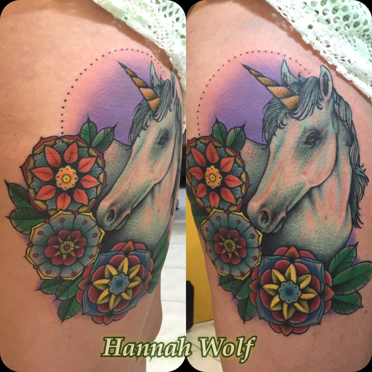 traditionalunicorntattoo