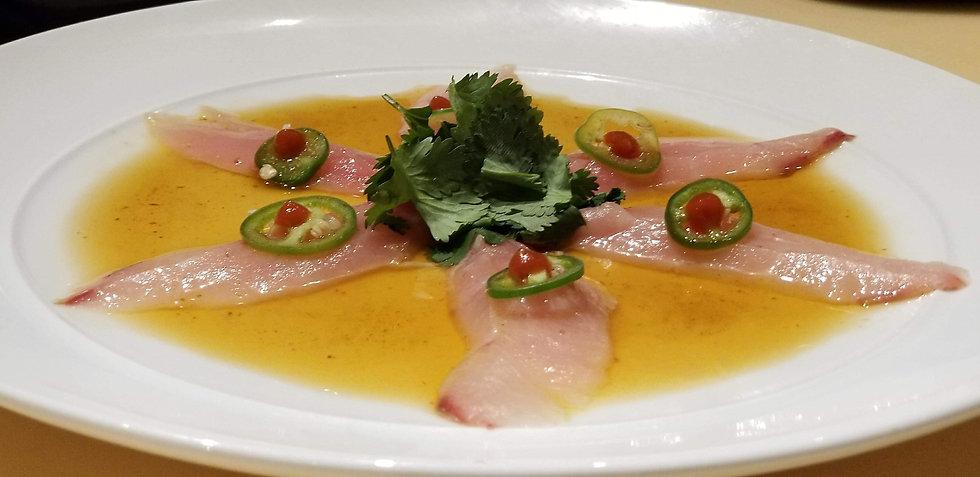Baby Yellowtail Sashimi with Jalapeno and Ciracha