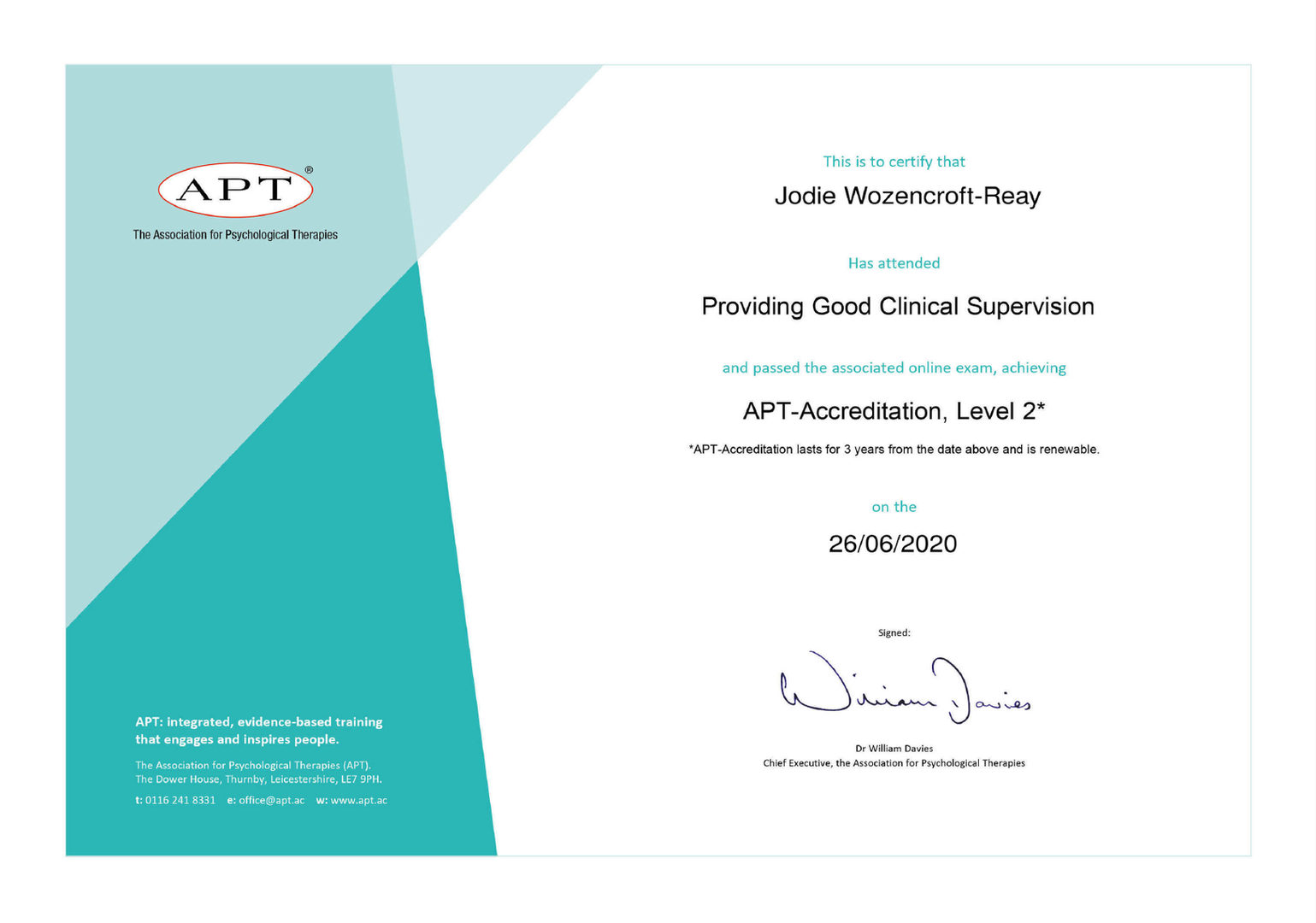 Level 2 APT Supervision Accreditation