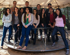 12 Bhalla Lab members in 2016 on a merry-go-round