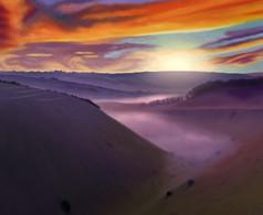A Misty Devil's Dyke Sunrise, West Sussex. England
