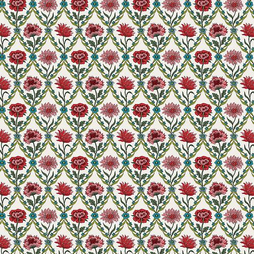Kew Trellis, Red on Natural