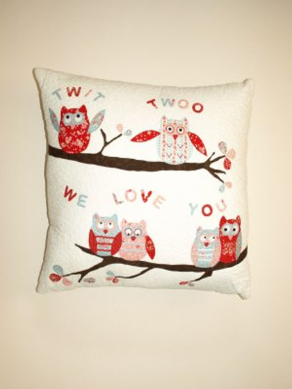 Twit Twoo We Love You Cushion - Pattern