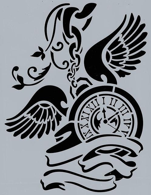 Pendulum Clock w/ Wings - Stamperia Stencil