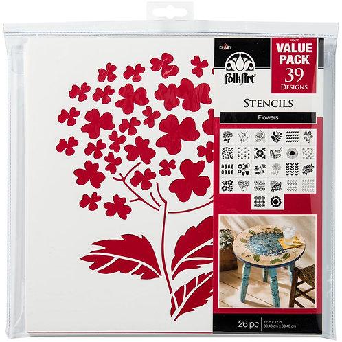 Florals  -FolkArt Stencil Pack