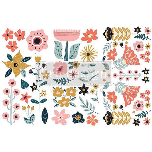 Doodle Flowers-     Prima Mini Transfer