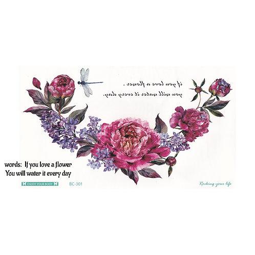 Pink Flowers w/ Words-     Mini Transfer