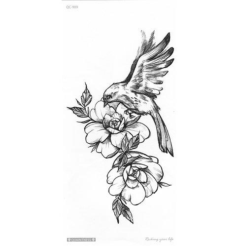 Black Bird w/ Flower-     Mini Transfer