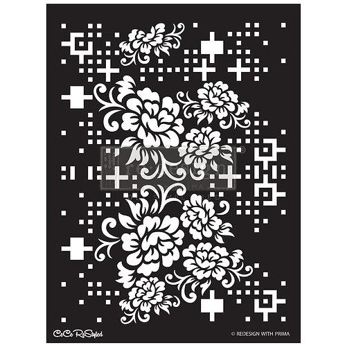 CeCe:  Floral Matrix  - Prima Stencil