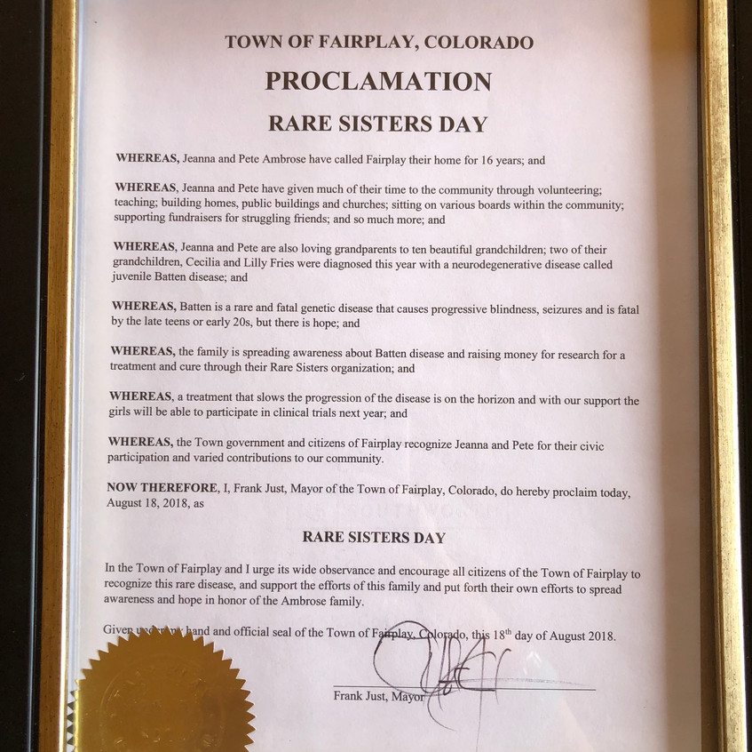 Rare Sisters Day Proclamation