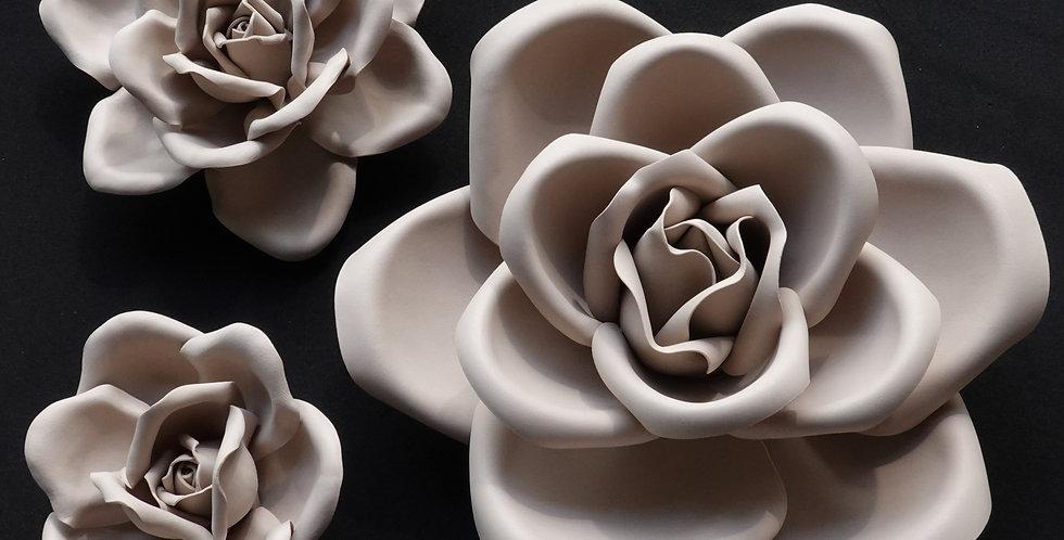 Rose Wall Flowers - Pastel Brown
