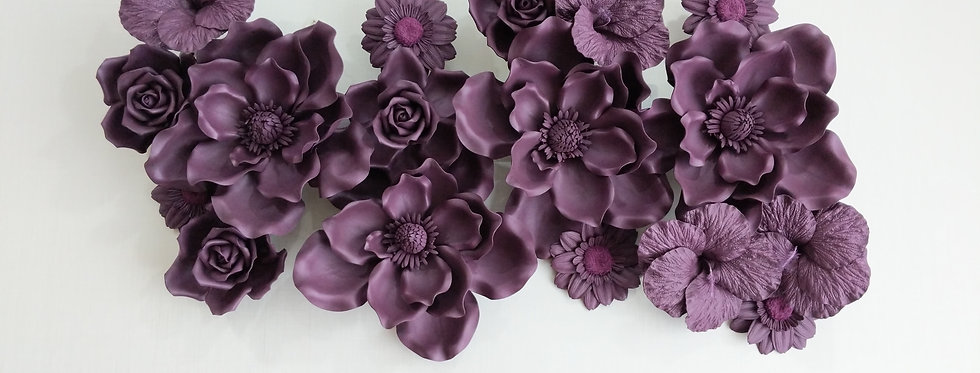 Combination Mauve Wall Flowers Large