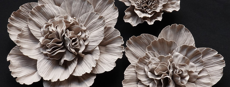 Peony Wall Flowers - Pastel Brown