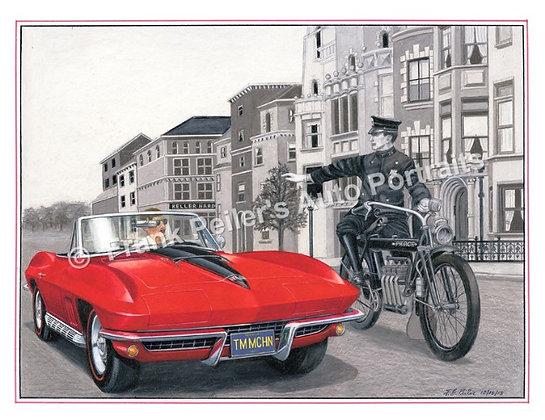 """Time Machine 63 Red Corvette in 1917 22""""x17"""" Print"""
