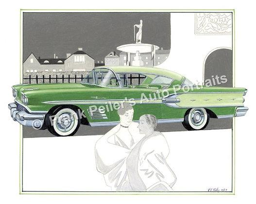"1958 Pontiac Bonneville in 1929 22""x17"" Print"