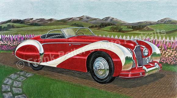 """1949 Talbot Lago 17"""" x 9.75"""" Print"""