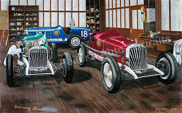 "Race-Ready Studebakers 36"" x 28"" (framed)"