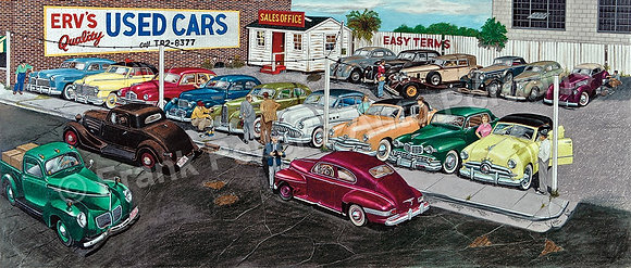 "1951 Used Car Lot  40"" x 17"" Print"