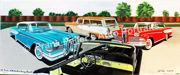 "Edsels at Dearborn Proving Gr. 40""x18"" (unframed)"