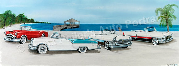 "Packard Caribbeans 40"" x 13.5"" (framed)"
