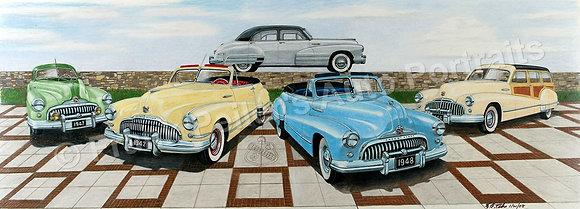 "Pre and Post-war Buicks 40"" x 15"" (unframed)"