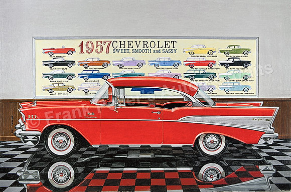 "'57 Chevy Showroom 30"" x 18.5"" (framed)"