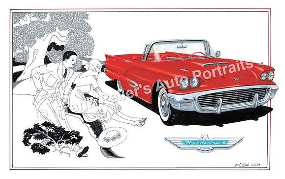 "1959 Ford Thunderbird in 1930 22""x17"" Print"