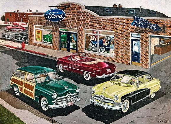 "1950 Ford Dealer  17"" x 14"" Print"
