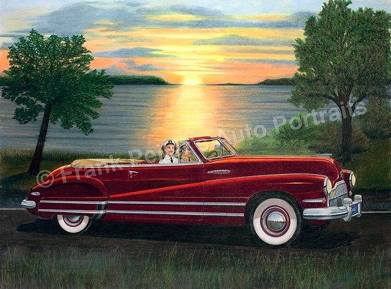 """Sunset Buick 30"""" x 24"""" (framed)"""