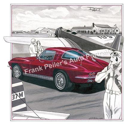 """1963 Chevrolet Corvette in 1932 22""""x17"""" Print"""