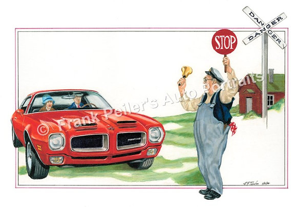 "1973 Pontiac Firebird in 1925 22""x17"" Print"