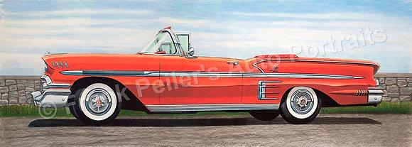 "1958 Chevy Convertible 17"" x 6.5"" Print"