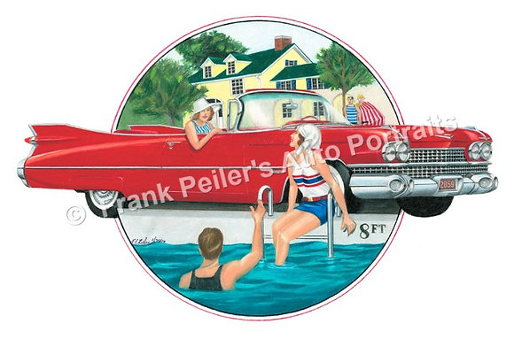 "1959 Cadillac in 1928 22""x17"" Print"