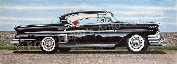 "1958 Chevy Impala Coupe  30"" x 11"" (unframed)"