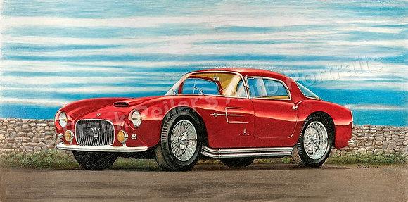 "Maserati A6GCS, 1955 30"" x 15"" (framed)"
