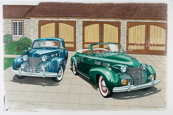 "Pair of '39 Cadillacs 30"" x 18"" (framed)"