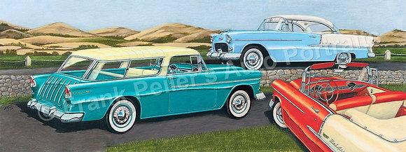 """1955 Chevrolets 40"""" x 15.5"""" (framed)"""