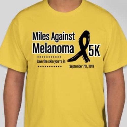 2019 Yellow Miles Against Melanoma 5K race shirt